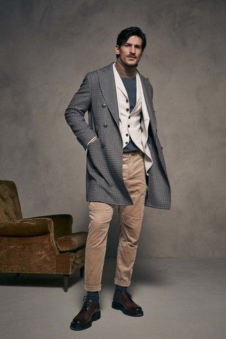 How to wear: grey gingham overcoat, beige wool blazer, beige wool waistcoat, tan turtleneck