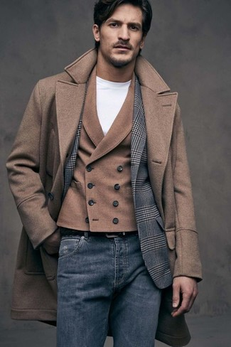 How to wear: brown overcoat, grey plaid wool blazer, brown wool waistcoat, white crew-neck t-shirt