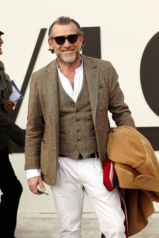 Alessandro Squarzi wearing Camel Overcoat, Brown Wool Blazer, Brown Wool Waistcoat, White Long Sleeve Shirt