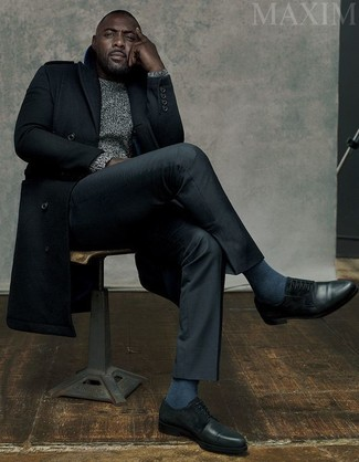 Idris Elba wearing Black Overcoat, Grey Cable Sweater, Black Dress Pants, Black Leather Derby Shoes
