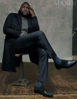 Idris Elba wearing Black Overcoat, Grey Cable Sweater, Black Dress Pants, Black Leather Derby Shoes