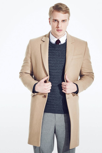 How to wear: camel overcoat, navy cable sweater, white dress shirt, grey wool dress pants
