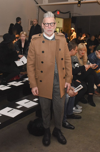 Nick Wooster wearing Camel Overcoat, Black and White Check Cardigan, White Dress Shirt, Grey Herringbone Wool Dress Pants