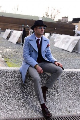 Go for a light blue overcoat and grey dress pants for incredibly stylish attire. For a more relaxed take, throw in a pair of Officine Creative Ivy 002 Loafers. We love that this getup is great when chillier days are here.