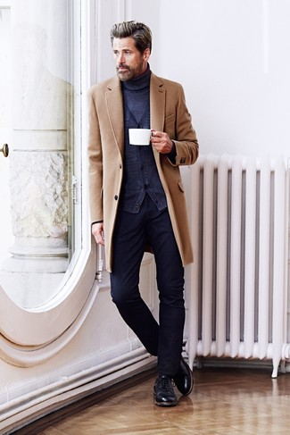 Men's Camel Overcoat, Navy Cardigan, Navy Turtleneck, Navy Jeans