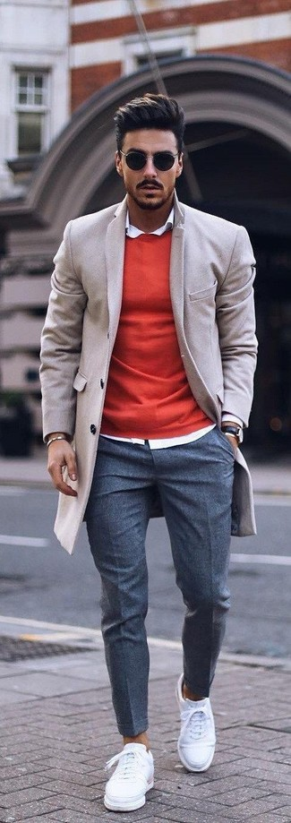 How to wear: beige overcoat, red crew-neck sweater, white dress shirt, charcoal wool dress pants