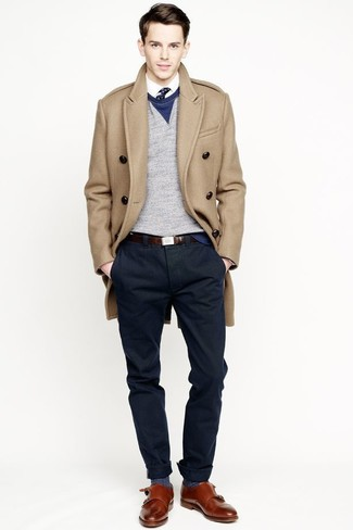 e187deb3f978 ... For a smart casual getup, dress in a camel overcoat and navy chinos —  these