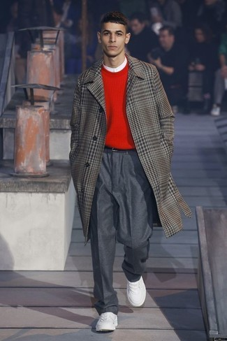How to wear: brown plaid overcoat, red crew-neck sweater, white henley shirt, charcoal wool dress pants