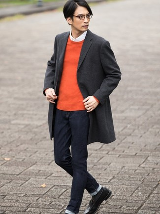 How to wear: charcoal plaid overcoat, orange crew-neck sweater, white long sleeve shirt, navy jeans