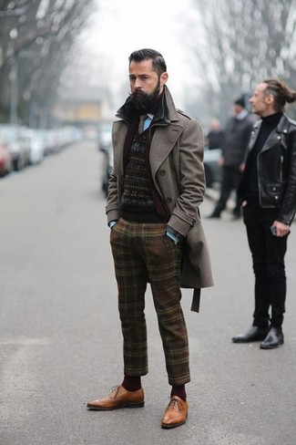 Men's Dark Brown Overcoat, Black Fair Isle Crew-neck Sweater ...