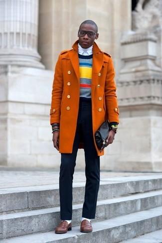 Men's Orange Overcoat, Multi colored Horizontal Striped Crew-neck Sweater, White Turtleneck, White Dress Shirt
