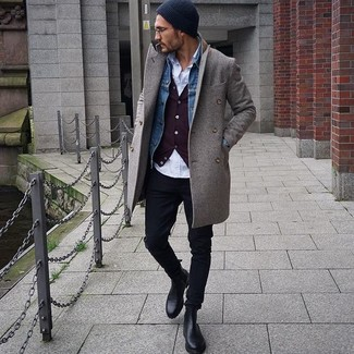 How to wear: grey overcoat, blue denim jacket, burgundy cardigan, white long sleeve shirt