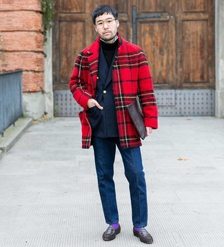 How to wear: red plaid overcoat, navy double breasted blazer, black crew-neck sweater, white and black gingham long sleeve shirt