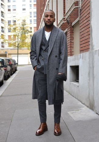 How to wear: grey overcoat, charcoal wool double breasted blazer, white crew-neck t-shirt, charcoal wool dress pants