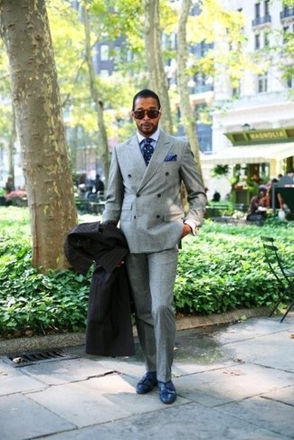 How to wear: black overcoat, grey double breasted blazer, grey dress pants, blue leather double monks