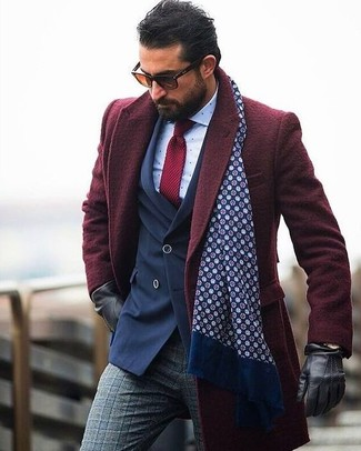 How to wear: burgundy overcoat, navy double breasted blazer, white polka dot dress shirt, grey plaid wool dress pants