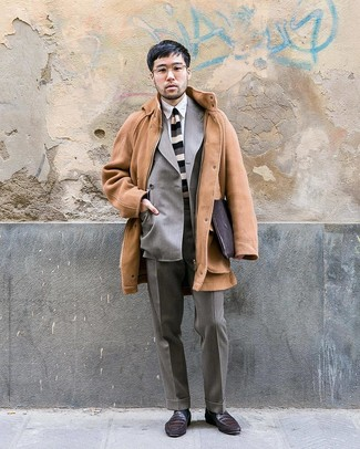 How to wear: camel overcoat, grey double breasted blazer, white dress shirt, grey dress pants