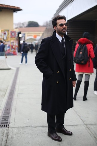 How to wear: black overcoat, black double breasted blazer, white dress shirt, black dress pants