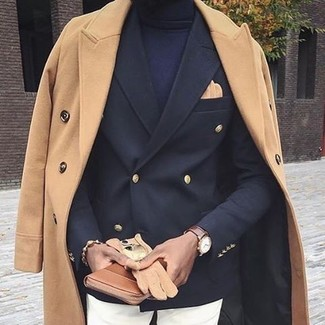 How to wear: camel overcoat, black double breasted blazer, navy turtleneck, white chinos