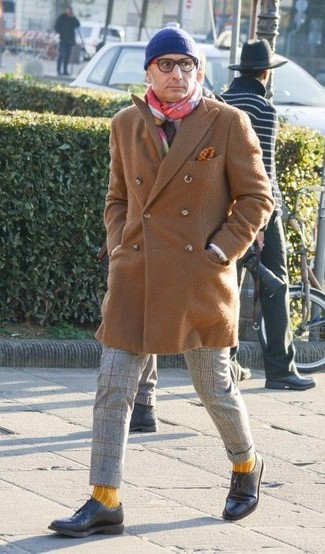 Men's Camel Overcoat, Grey Check Wool Dress Pants, Black Leather Derby Shoes, Blue Beanie