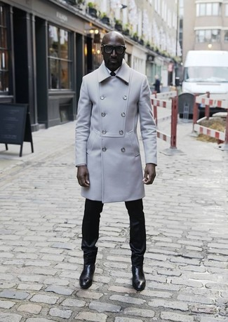 How to wear: grey overcoat, white dress shirt, black dress pants, black leather chelsea boots