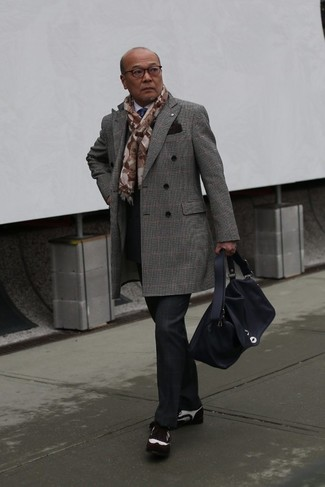 How to wear: grey plaid overcoat, white dress shirt, black plaid dress pants, dark brown suede brogues