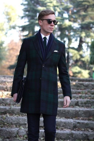 How to wear: navy and green overcoat, white dress shirt, navy dress pants, green knit tie
