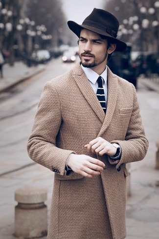 How to wear: camel overcoat, white dress shirt, dark brown wool hat, navy and white horizontal striped tie