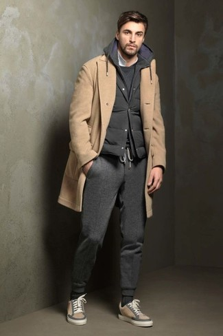 How to wear: camel overcoat, charcoal quilted gilet, charcoal sweatshirt, white polo