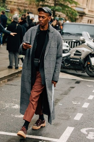 How to wear: grey plaid overcoat, black long sleeve shirt, black crew-neck t-shirt, tobacco dress pants