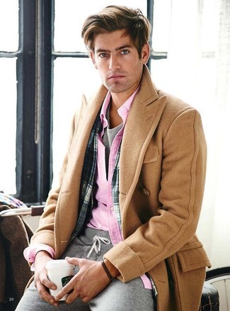 How to wear: camel overcoat, pink long sleeve shirt, grey crew-neck t-shirt, grey sweatpants