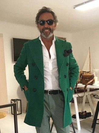 How to wear: green overcoat, white polo, green print chinos, black and white polka dot pocket square