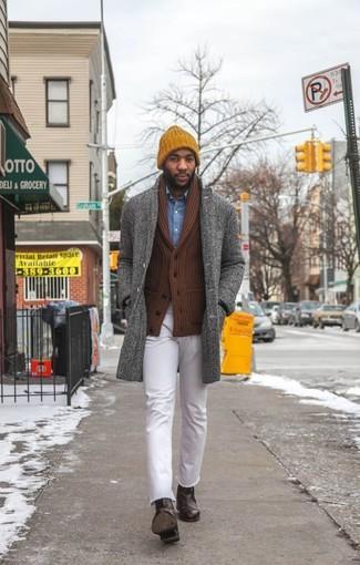 How to wear: grey herringbone overcoat, brown shawl cardigan, blue denim shirt, white jeans