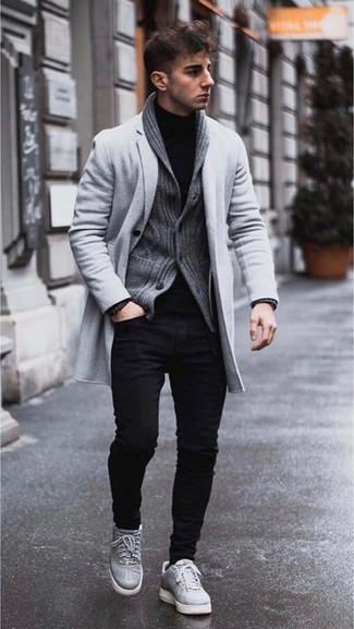 How to wear: grey overcoat, charcoal shawl cardigan, black turtleneck, black skinny jeans