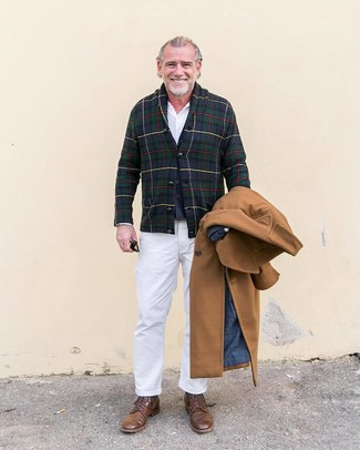How to wear: camel overcoat, navy and green plaid shawl cardigan, navy wool waistcoat, white dress shirt