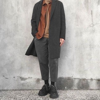How to wear: charcoal overcoat, tobacco flannel shirt jacket, tan crew-neck t-shirt, charcoal wool dress pants