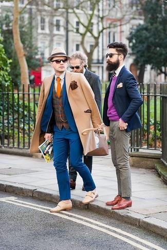 How to wear: camel overcoat, blue suit, brown plaid wool waistcoat, beige print long sleeve shirt
