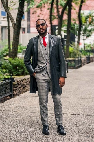 How to wear: black leather overcoat, grey check three piece suit, white dress shirt, black leather derby shoes