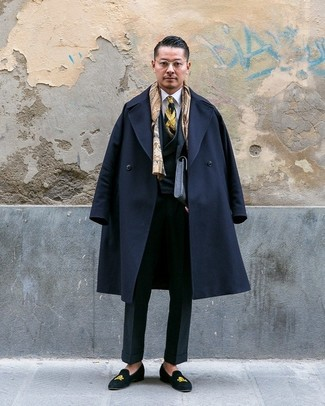 How to wear: black overcoat, black three piece suit, white dress shirt, black embroidered suede loafers