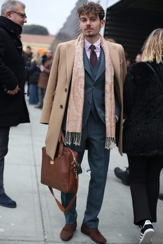 How to wear: camel overcoat, grey three piece suit, pink dress shirt, brown suede loafers