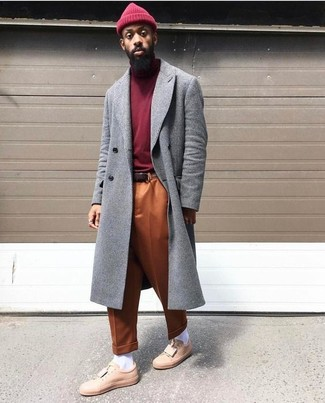 How to wear: grey overcoat, burgundy turtleneck, orange chinos, pink leather low top sneakers