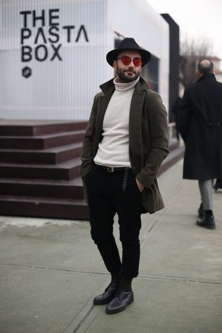 How to wear: olive overcoat, white turtleneck, black chinos, black leather derby shoes