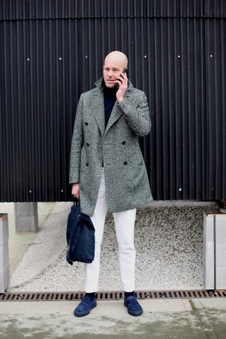 How to wear: grey herringbone overcoat, black turtleneck, white chinos, navy suede loafers