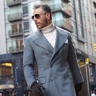 How to wear: grey overcoat, white knit turtleneck, white pocket square, black suede gloves
