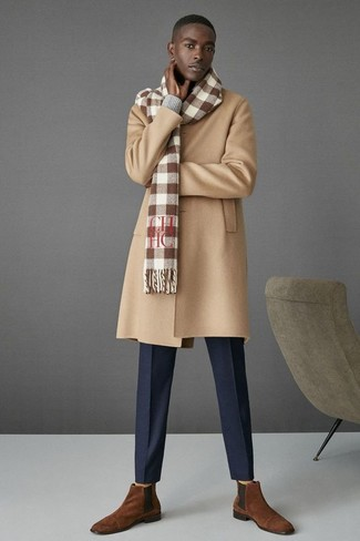 How to wear: camel overcoat, grey v-neck sweater, navy dress pants, brown suede chelsea boots