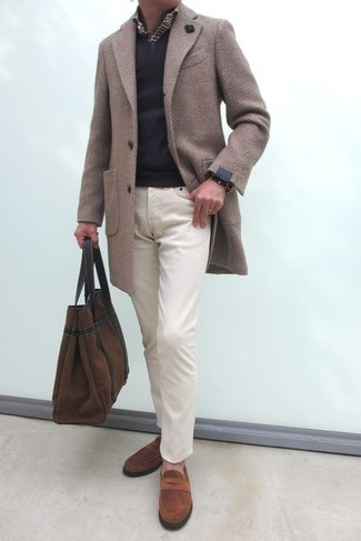 How to wear: beige overcoat, black v-neck sweater, dark brown gingham long sleeve shirt, beige chinos