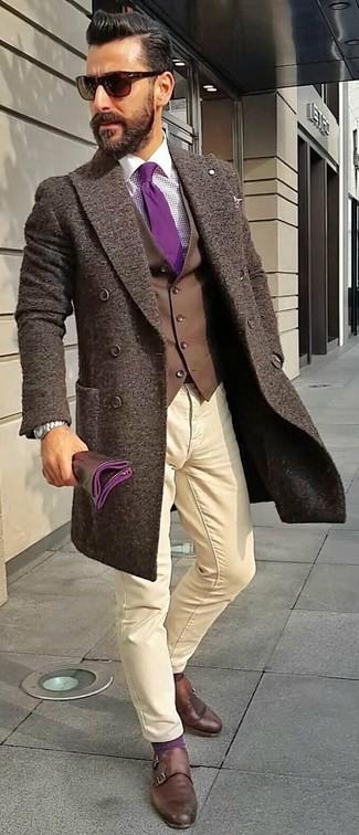 How to wear: dark brown overcoat, dark brown waistcoat, purple gingham dress shirt, beige chinos