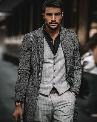 How to wear: grey herringbone overcoat, grey vertical striped waistcoat, black vertical striped dress shirt, grey vertical striped dress pants