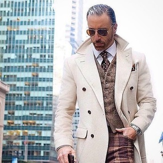 How to wear: beige overcoat, brown wool waistcoat, white dress shirt, burgundy check wool dress pants