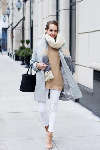 How to wear: white skinny jeans, tan oversized sweater, light blue coat, light blue shawl